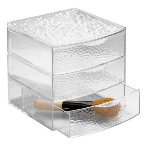 InterDesign Rain 3 Drawer Large Box, Clear by InterDesign