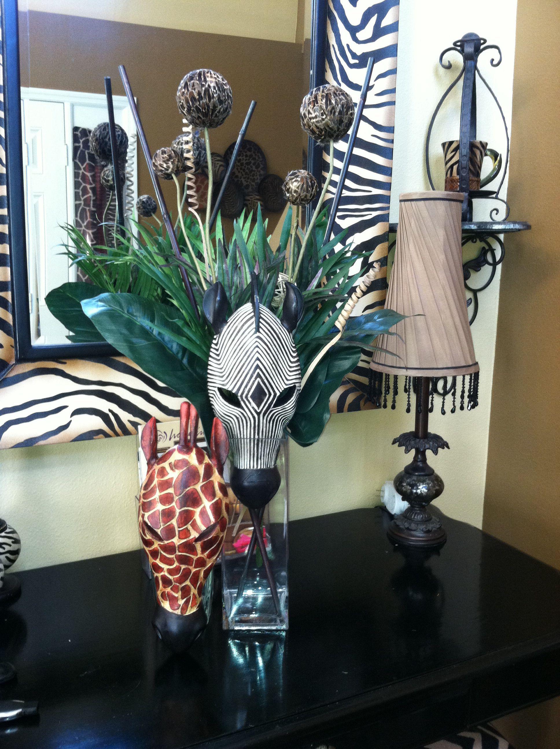 African centerpiece (safari animals) African inspired