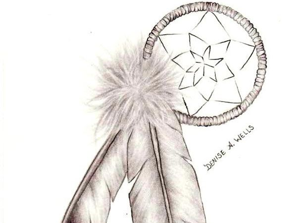 Eagle Feather Dream Catcher dreamcatcher and eagle feathers 40 Mind Blowing Tattoo Sketches 14