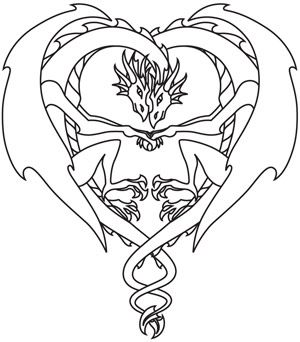 dragons in love coloring pages - photo#1