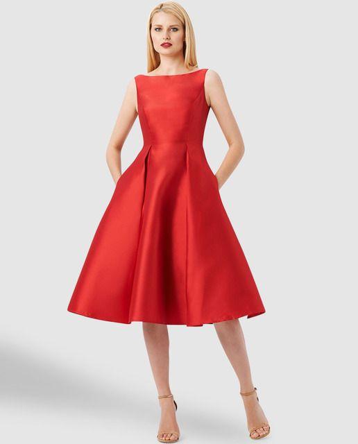 e357b2680 Vestido rojo de mujer Adrianna Papell con dos bolsillos