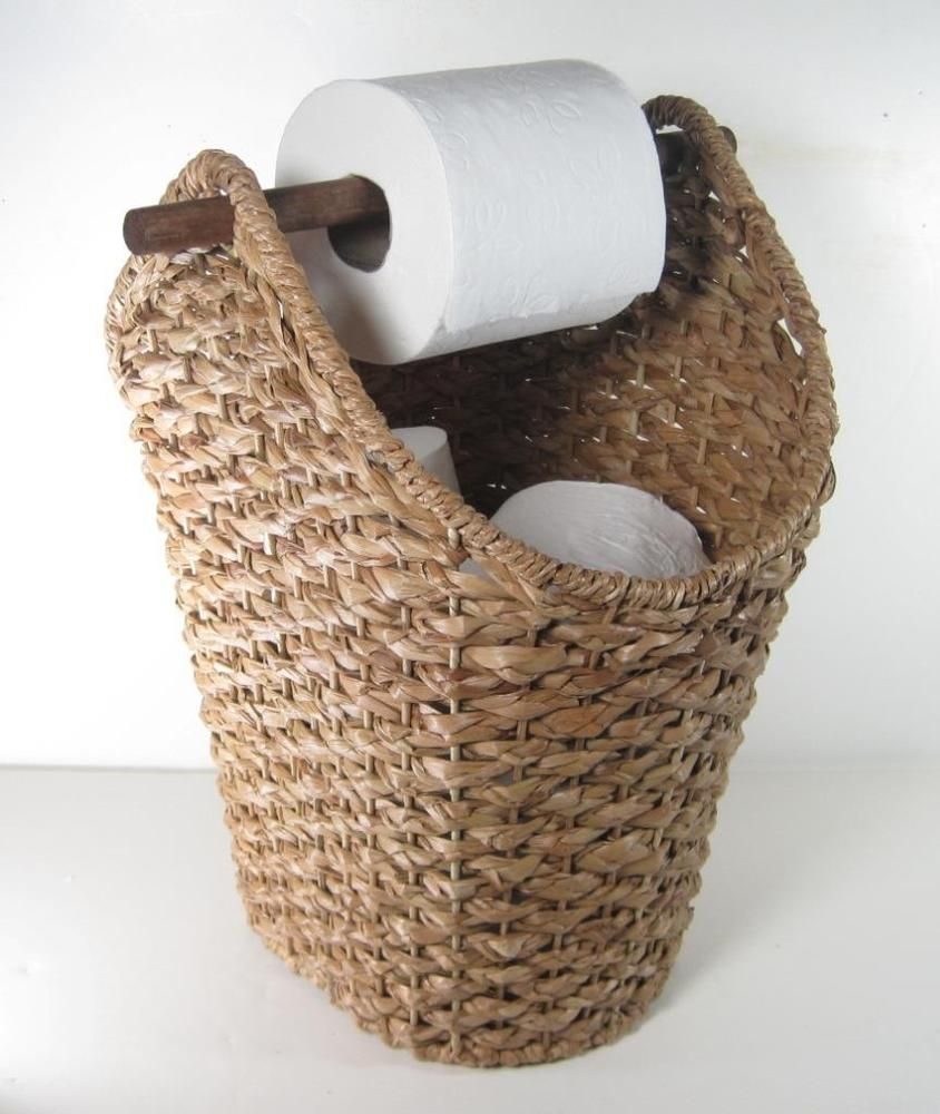 Covered Toilet Paper Storage Braided Rope Basket Toilet Paper Holder Rustic Country Style