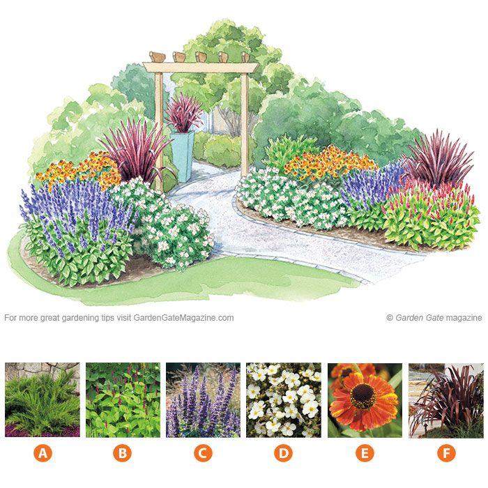 Colorful Planting Around An Arbor Garden Design Plans Garden Planning Flower Garden Plans