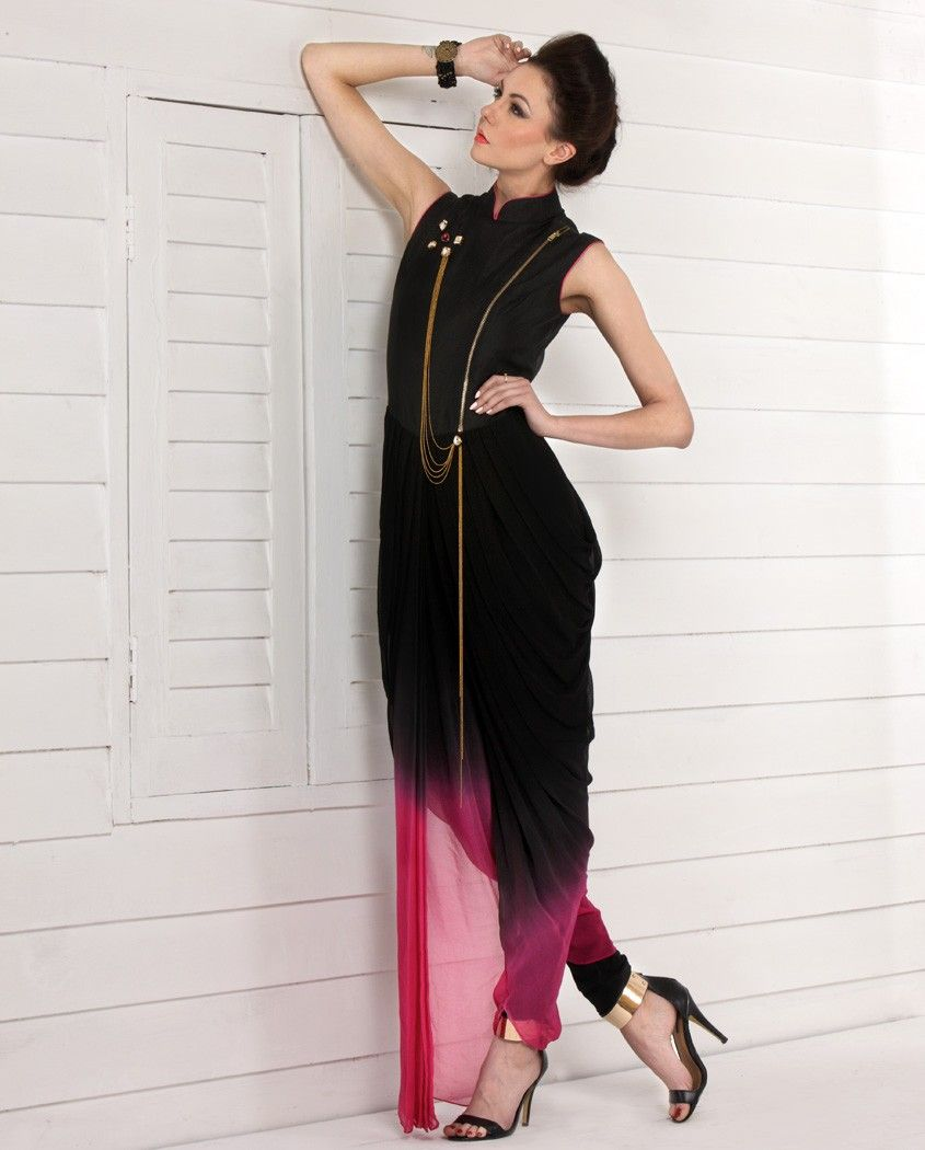 Black Dhoti Style Jumpsuit 1 And Hot Pink Jfashion Etchnic Long Tunik Fashion Elegan Shareen Jumpsuit2 A Brooch Over The Top For An Additional Statement3 Can Be Stitched Upto Size