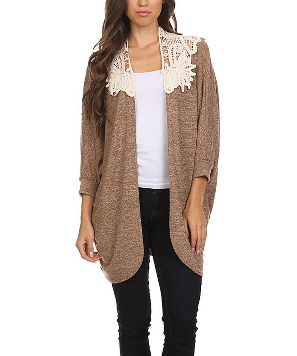 This Lady's World Beige & Cream Lace Cardigan - Plus Too by Lady's ...