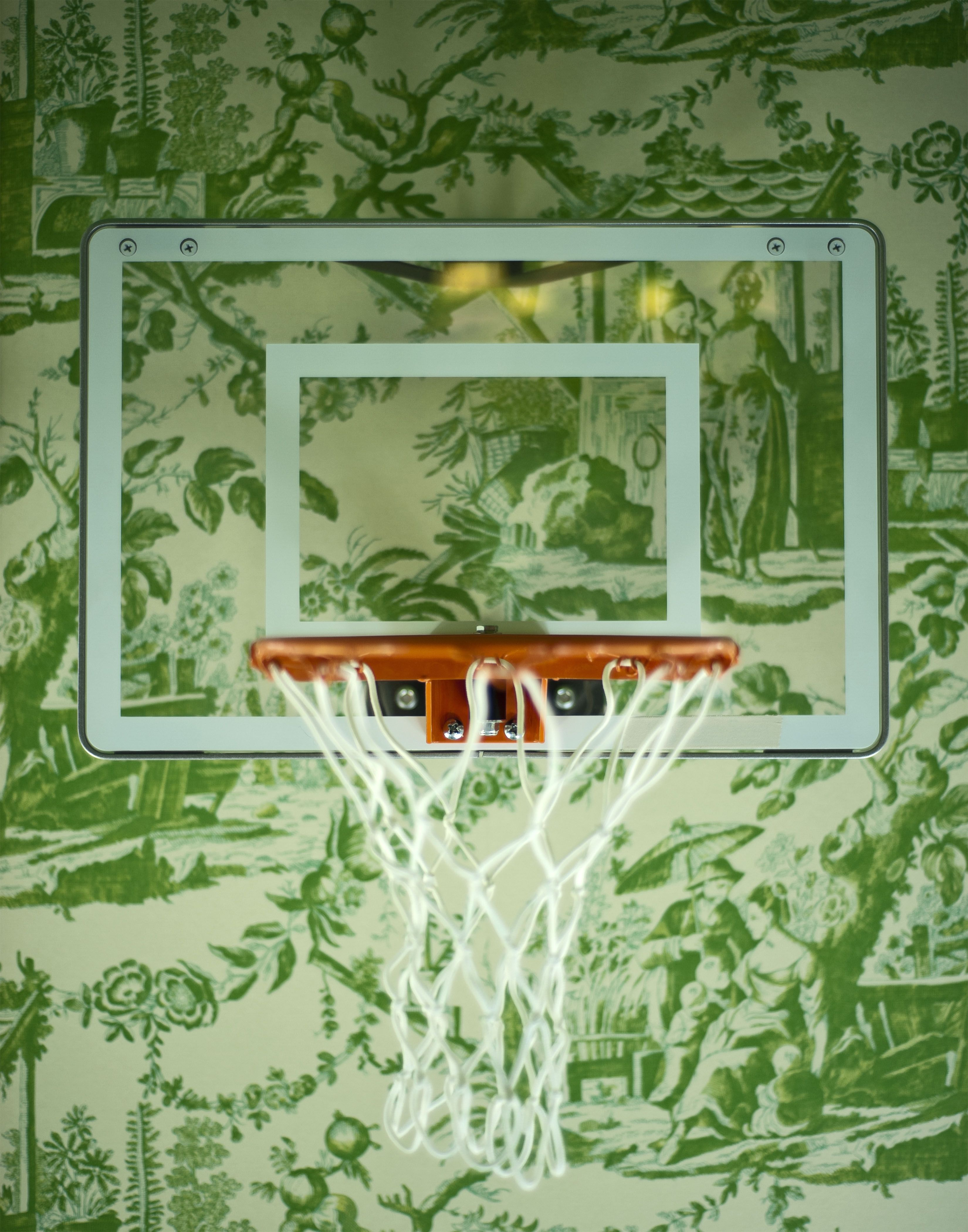 basketball hoop on green toile. Pretty room, Chinoiserie