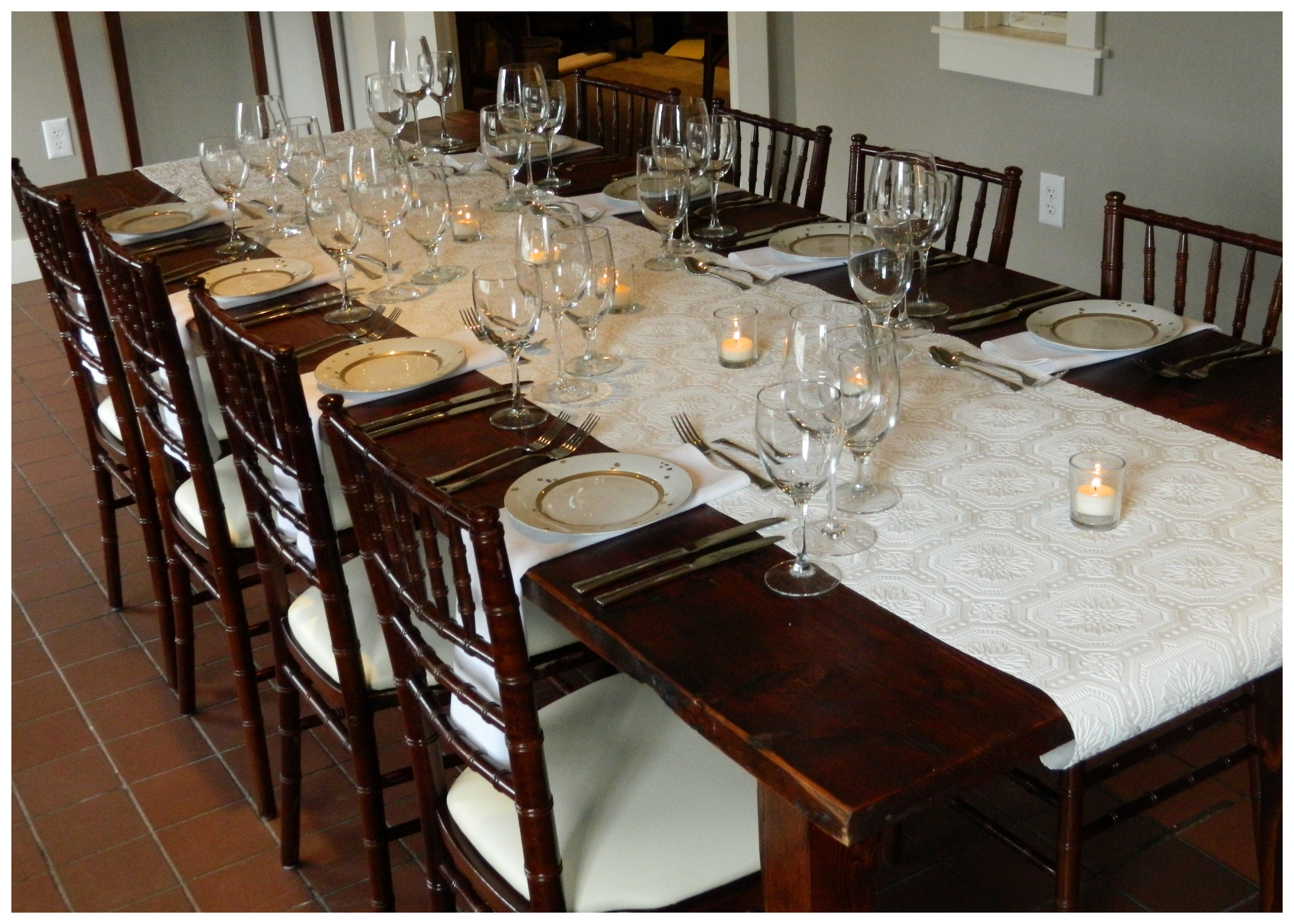 This Set Up Includes Our Rustic Farm Table Set For 8