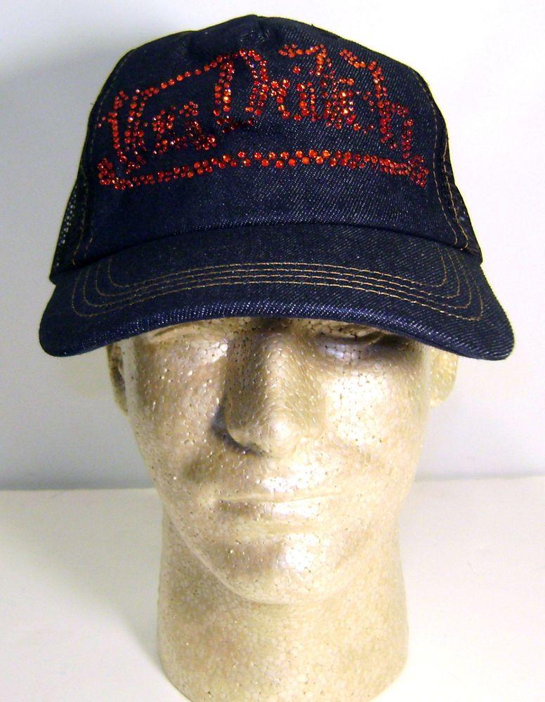 Womens Authentic New Von Dutch Blue Denim Rhinestone Cap Hat Trucker ... 77d7675631