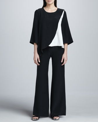 Colorblock Silk Blouse & Drawstring Pants by Neiman Marcus at Neiman Marcus.