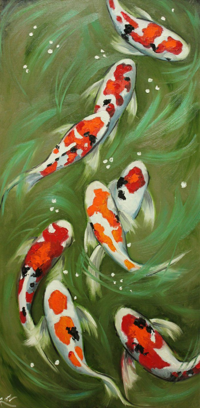 Koi fish portrait painting 49 18x36 inch original oil painting by ...