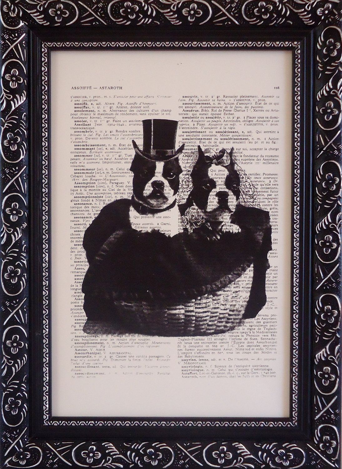Boston terrier art print under 10 on an vintage french dictionary print boston terrier art print for your wall mixed media(342). $8.95, via Etsy.