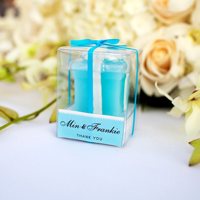 A Tiffany Shaped Box Candle With Turquoise And White Packaging Awaits Each Wedding Guest At Bryant Dewey Seasons Resort Maui