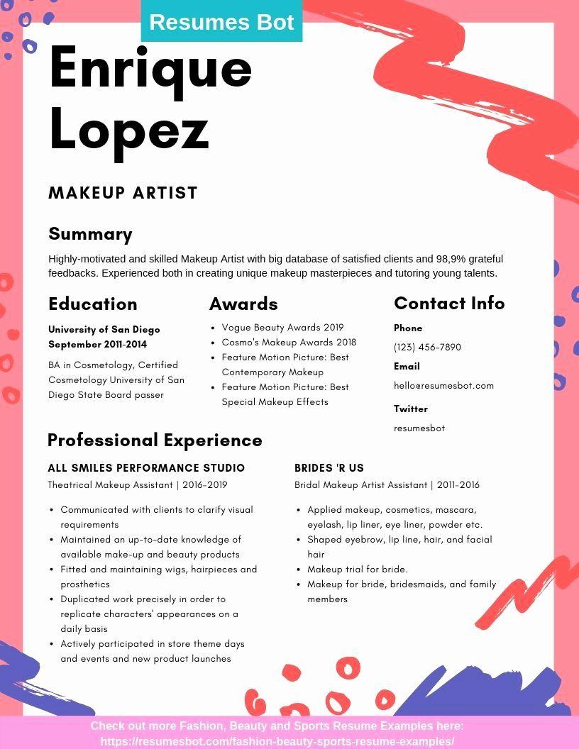 Makeup Artist Resume Examples Lovely Makeup Artist Resume