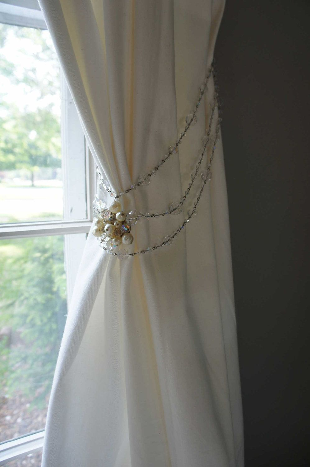 Curtain Tie Back Vintage Crystal Beads Pearls Sparkly