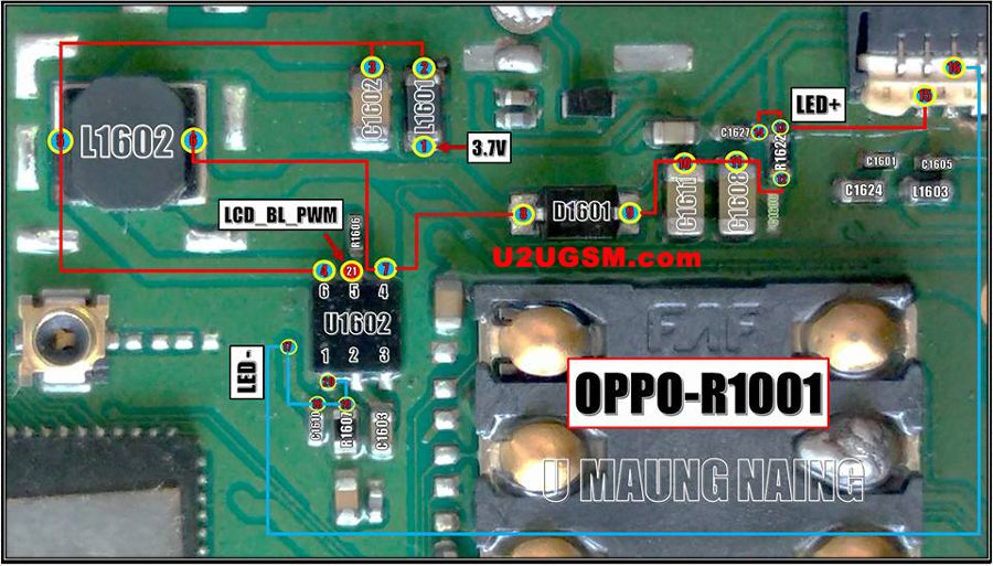 OPPO R1001 JOY LCD Display Light Not Working Solution Jumper