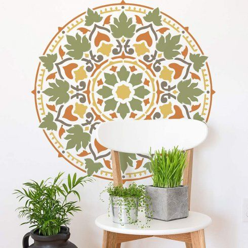 Cottage Garden Mandala Stencil Mandala Stencils Wall Stencils Meditation  Decor Yoga Mandala Decal Via Cutting Edge Stencils ...