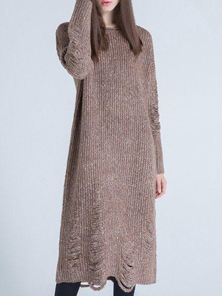 Coffee Wool Blend Crew Neck Casual Sweater Dress