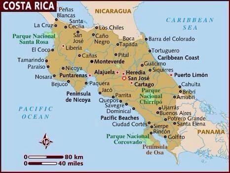 Mapa De Costa Rica Playas.Mapa De Costa Rica Playas De Costa Rica Viajes A Costa