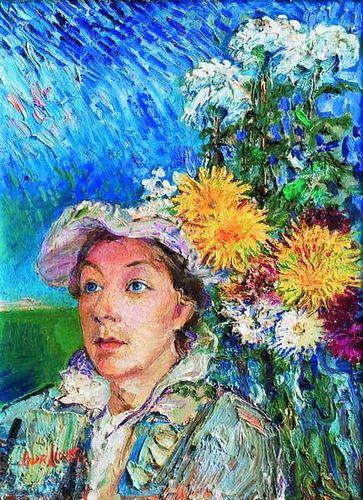 Marusia with flowers by David Burliuk