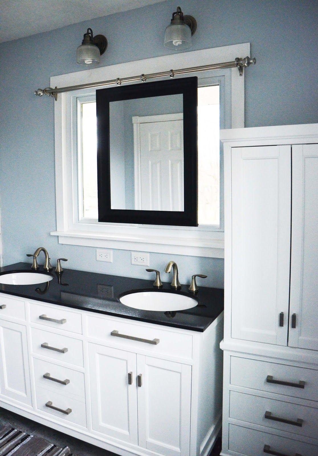 Beautiful master bathroom renovation, white with dark countertops ...