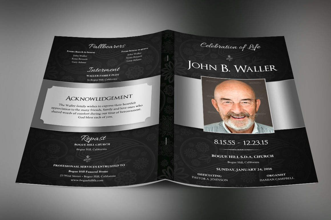 Black Dignity Funeral Program Large Publisher Template is for a ...