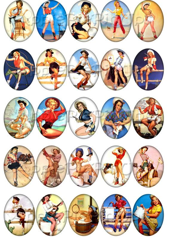 Printable Digital Collage Vintage Retro by ApplePiePinUps on Etsy, $2.75