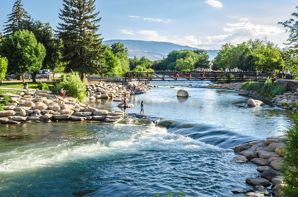 Whitewater Park On Truckee River Reno In Summer Truckee River