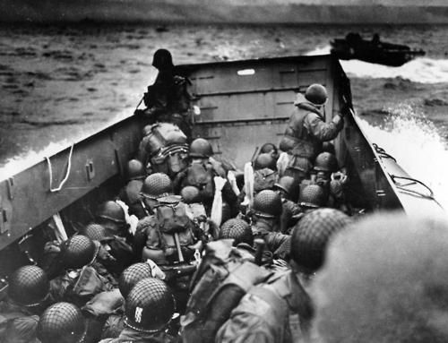 Approaching the shores of Normandy, D-Day June 6, 1944.