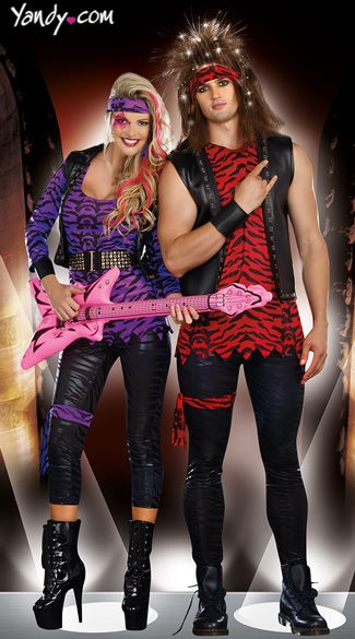Halloween Rockstar.Hair Band Rockstars Couples Costume 80s Rockstar Couples Costumes