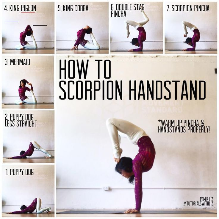 HOW TO SCORPION HANDSTAND✨ . Poses to warm your scorpion handstand ❤️ Thin... - Fitness - Yoga fitne...