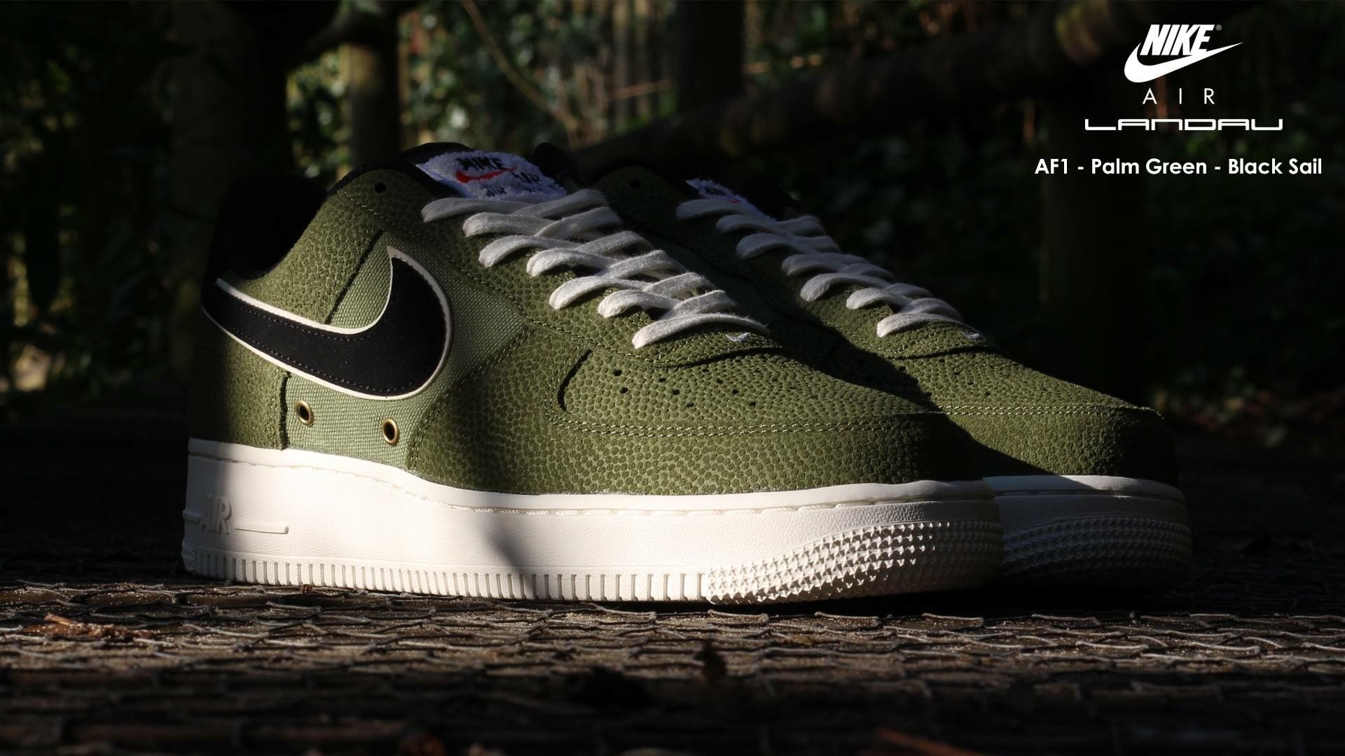 Nike Shoes Men's Air Force 1 07 LV8 Palm Green Black Sail Landau