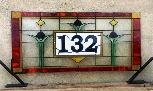Stained Gl Address Marker Homelike Tulips This Custom Piece Costs Roximately 300 400 Transom Is Based On A Craftsman Style Design