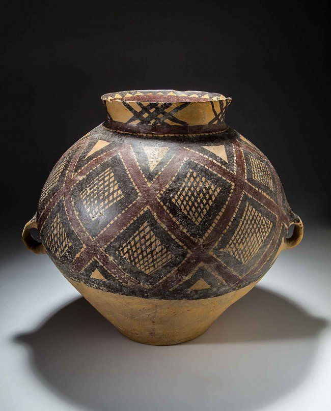 Neolithic Painted Earthenware Seed Jar Jul 6 2014 A B
