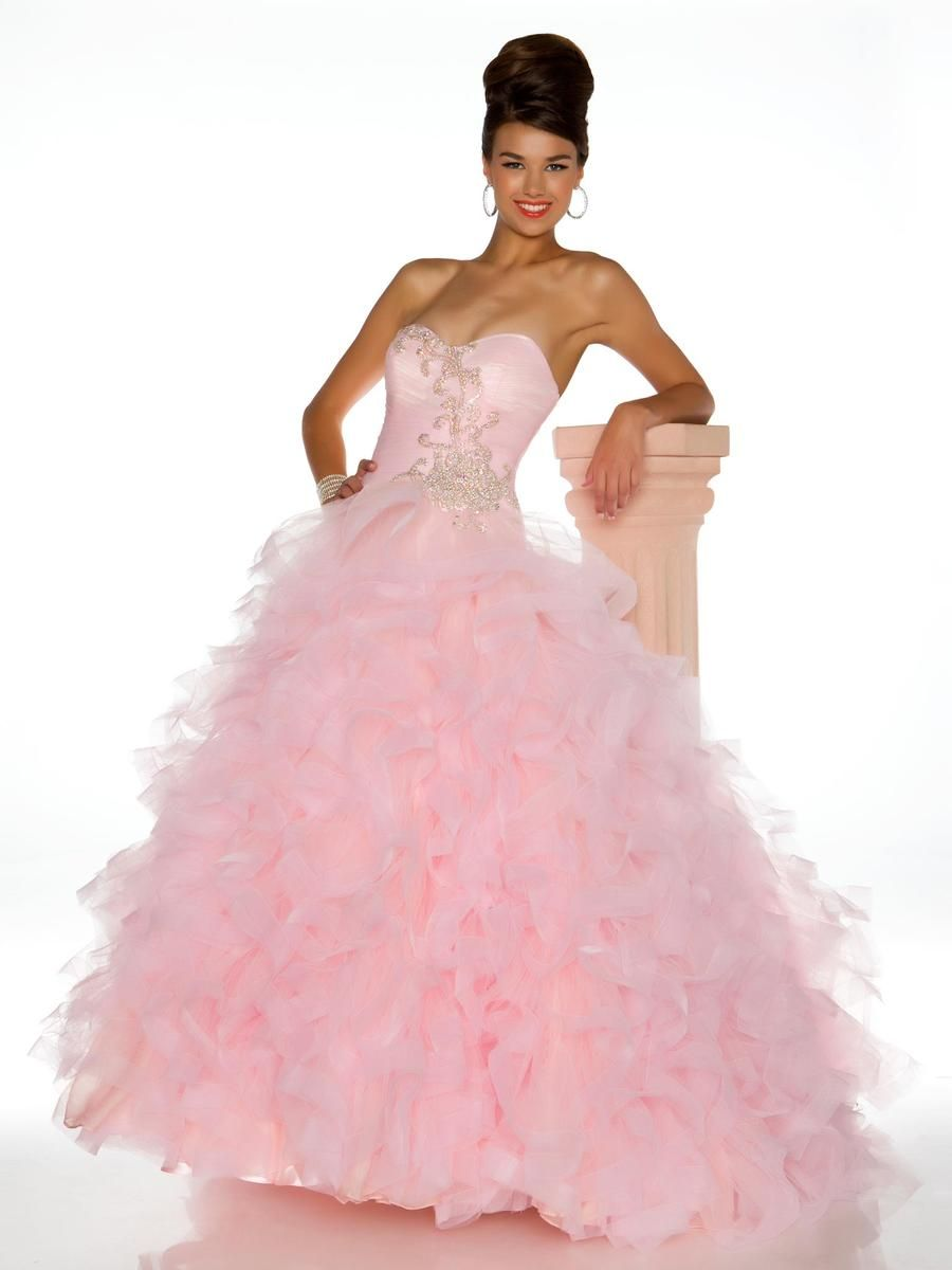 Ruffles Beading Sweetheart Ball Gown Pink Prom Dress | Prom Dresses ...