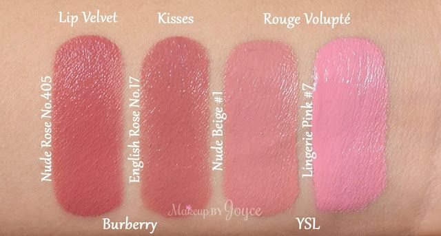 Burberry Lip Velvet Matte Lipstick Nude Rose 405 Swatches YSL Rouge Volupte  Lingerie Pink  7 Nude Beige  1 760969e7bf830