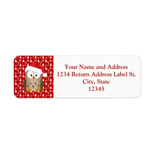 Christmas Owl with Santa Hat Label Christmas owls and Christmas