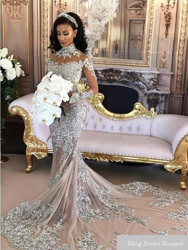 Luxury Sparkly 2017 Wedding Dress Sexy Sheer Bling Beaded Lace Applique  High Neck Illusion Long Sleeve Mermaid Chapel Bridal Gowns Item specifics   ... 29739eadb207