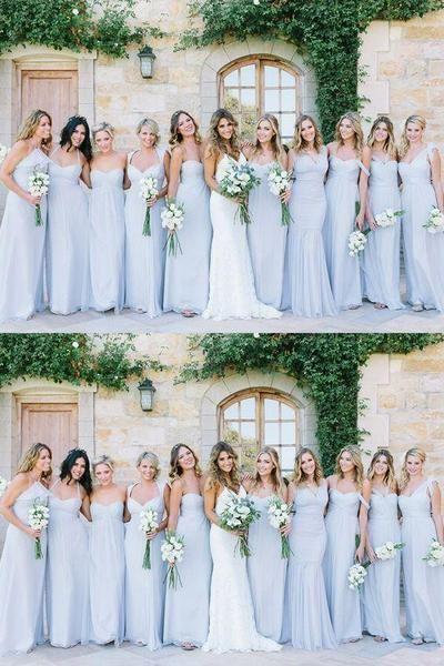 Mismatched Blue Chiffon Floor Length Cheap Long Bridesmaid Dresses Online, WG565