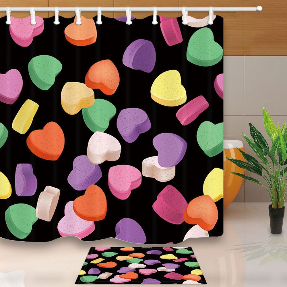 Valentines Day Colorful Heart Candy Bathroom Shower Curtain Set 71 Inch Fabric