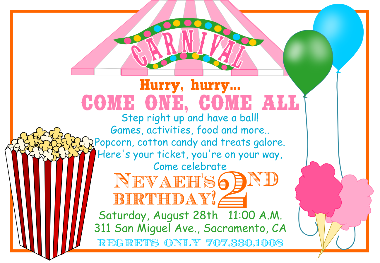 Free Printable Carnival Birthday Invitations Party
