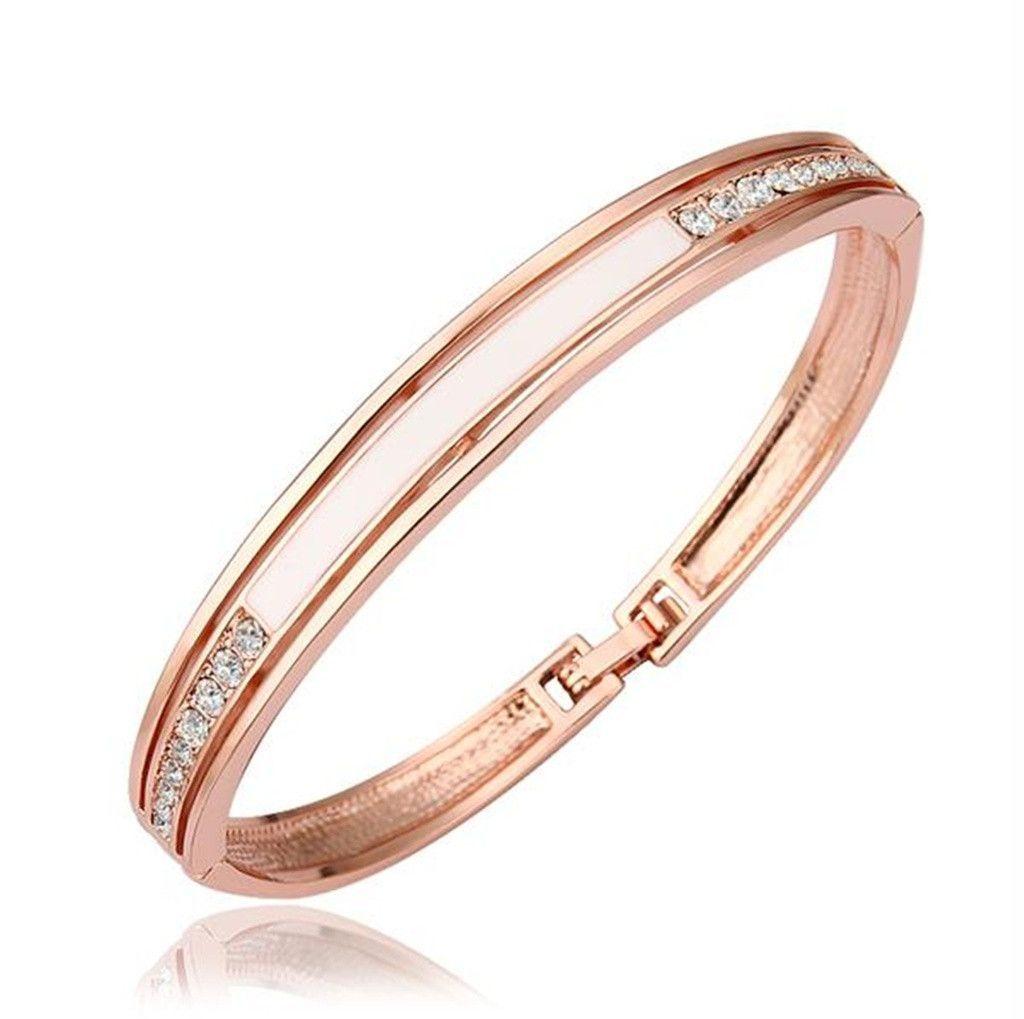 Gold plated bangle bracelets for women rose gold u white cubic