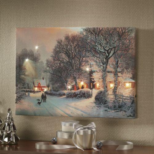 Christmas Dreams Lit Winter Scene Lighted Canvas Art Christmas Art Christmas Canvas