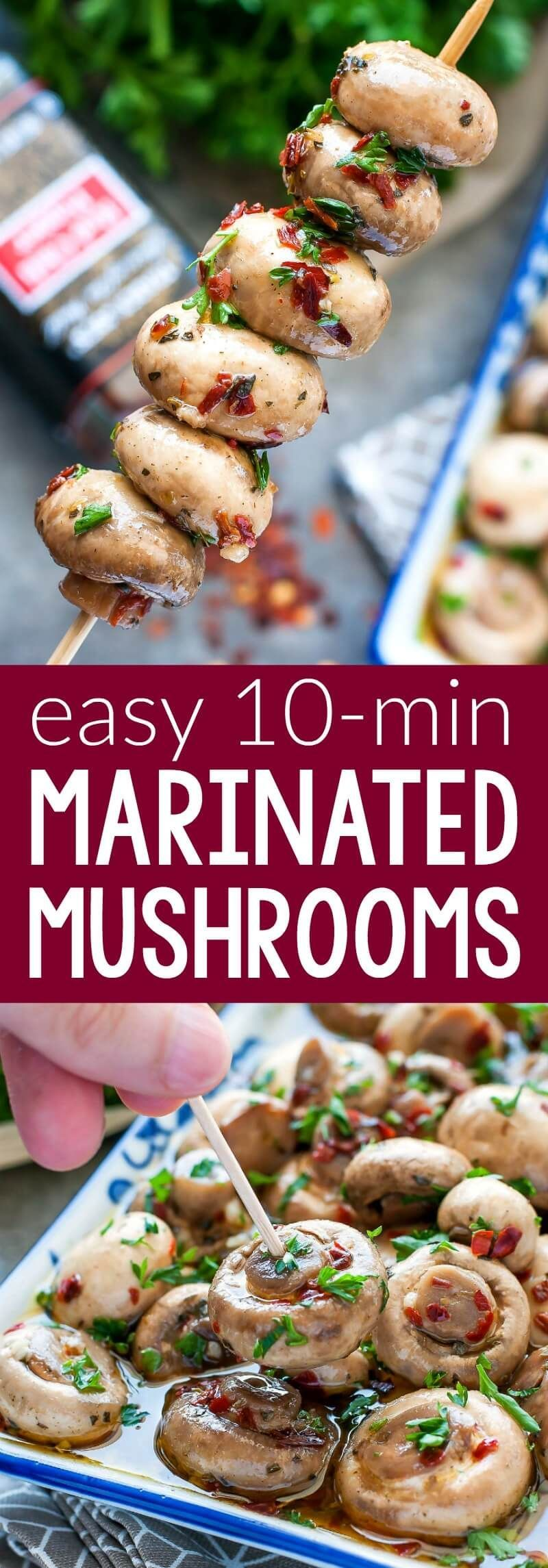 Skip the jar and whip up these easy breezy 10 Minute Marinated Mushrooms at home! #mushrooms #marinade #marinated #pickled #vegetarian #vegan #glutenfree #keto #snack #appetizer #lowcarb