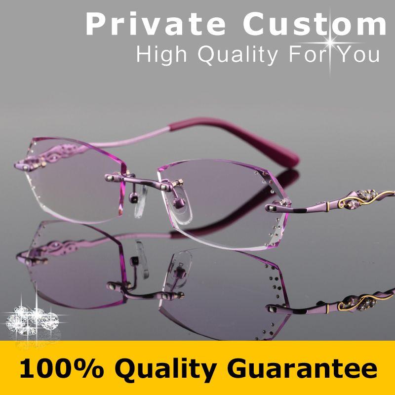 New Luxury Rimless Eyeglasses For Women Brand Design Myopic Glasses Ladies Computer Eyewear Prescription C Eyeglasses For Women Computer Eyewear Classy Glasses