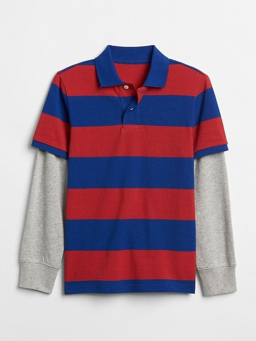 a1ae3463 Gap Boys Stripe 2-In-1 Polo Shirt Modern Red | Products in 2019 ...