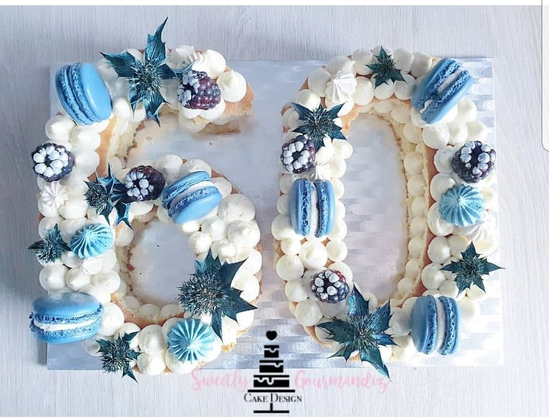 Blue Number Cake Number Cakes Cake Lettering Birthday Cake Decorating