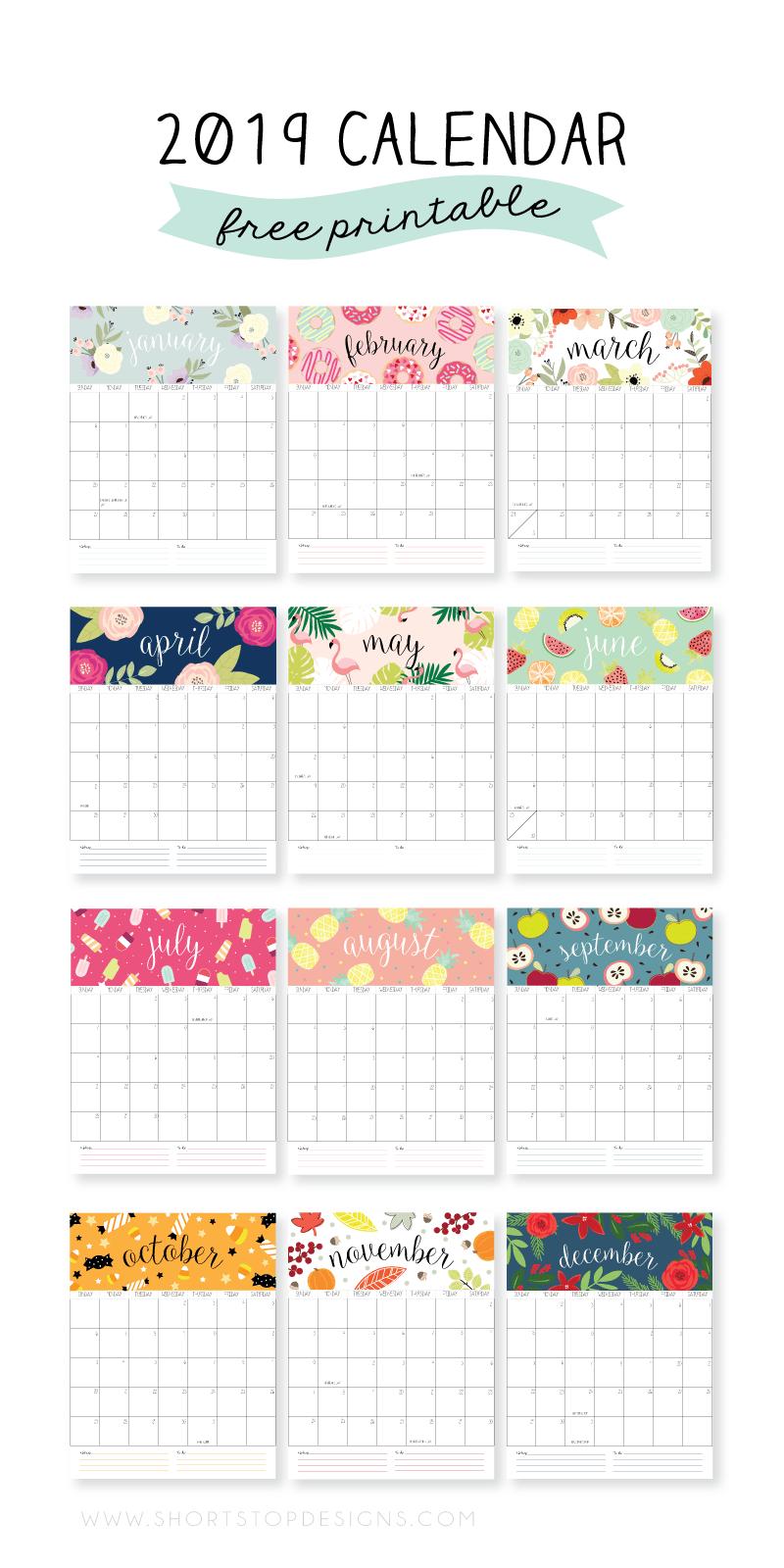 2019 Printable Calendar Craft Pinterest Calendar Calendar