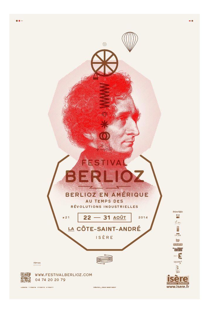 Brest Brest Brest Affiche abribus pour le Festival Berlioz (Aida 38) Impression Warm Red + Pantone 876 (cuivre) sur papier Coral Book Ivory 110g Texte composé en Hermes (© Optimo)..