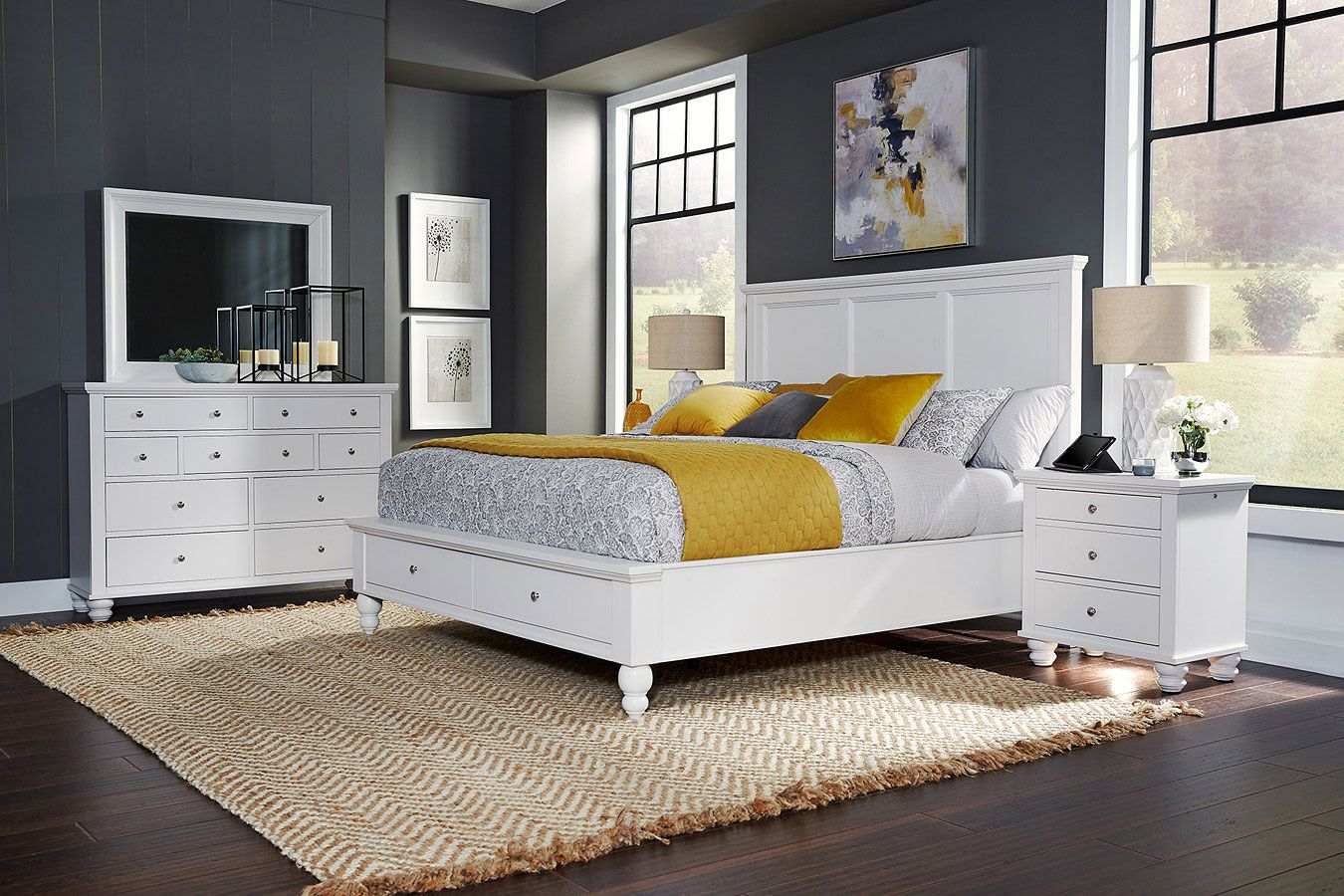 Cambridge Flat Panel Storage Bedroom Set White California King