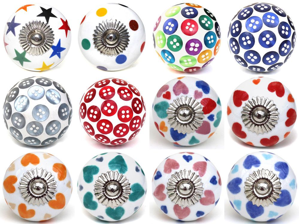 Handcrafted Door Knobs /& Handles decorated with Cath Kidston /'Bleached Flowers/'